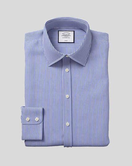 Bügelfreies Hemd mit Kent Kragen und Bengal-Streifen - Marineblau