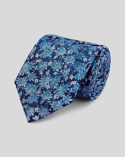 Englische Luxuskrawatte aus Seide mit floralem Muster - Blau