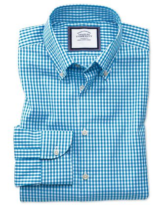 Slim fit button-down business casual non-iron aqua blue shirt