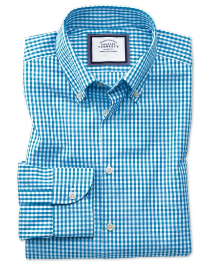 Bügelfreies Slim Fit Business-Casual Hemd mit Button-down Kragen in Aquablau
