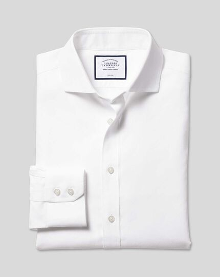 Spread Collar Non-Iron Twill Shirt - White