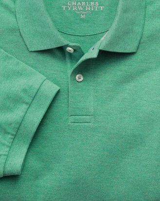 Light green pique polo