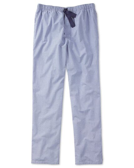 Blue and white stripe lightweight pyjama trousers