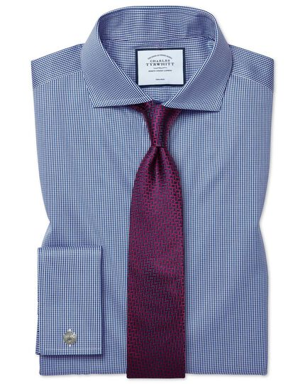 Pink and navy silk large lattice stain resistant classic tie