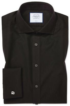 Chemise noire en popeline extra slim fit sans repassage à col cutaway