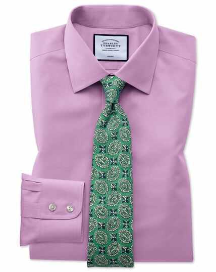 Bügelfreies Classic Fit Popelinehemd in Violett
