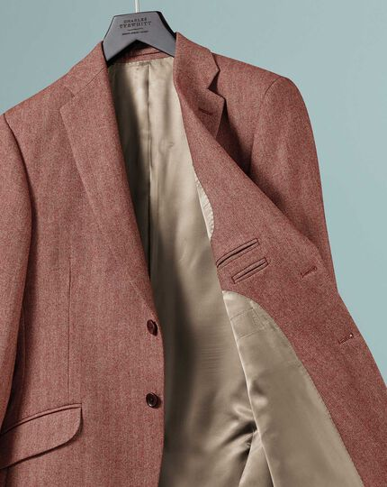 Classic fit British wool with cashmere jacket in red
