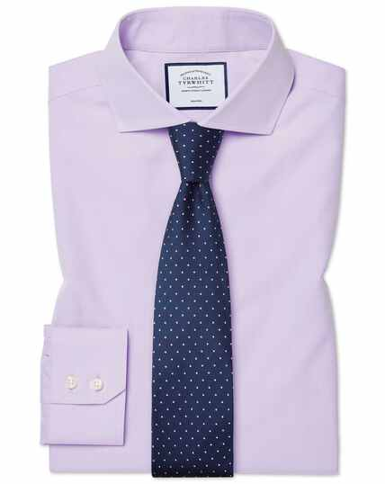 Extra slim fit non-iron cutaway collar poplin lilac shirt