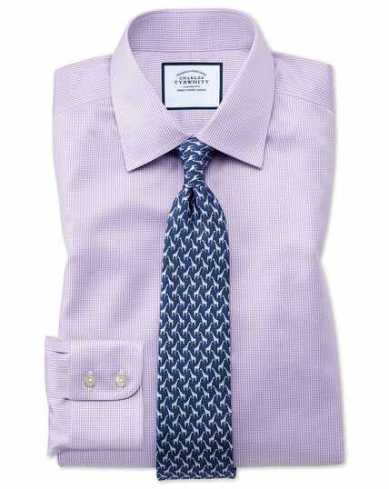 Classic fit non-iron lilac puppytooth shirt