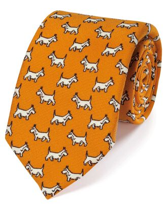 Yellow wool Scottie dog print English luxury tie
