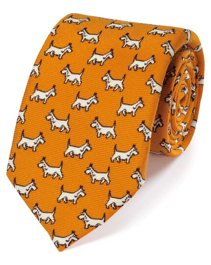 Yellow wool Scottie dog print English luxury tie