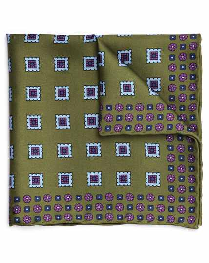 Olive and sky blue silk square motif printed pocket square