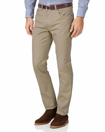 Stone slim fit five pocket Bedford corduroy trousers