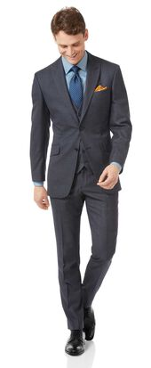 Airforce blue slim jaspe business suit