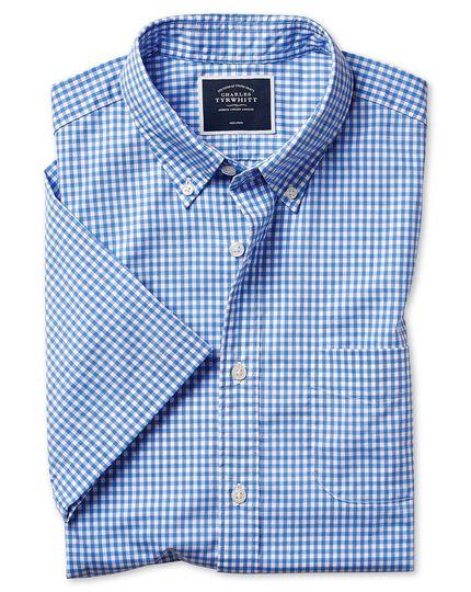 Chemise à manches courtes en popeline stretch soft washed bleu ciel à carreaux vichy coupe droite sans repassage