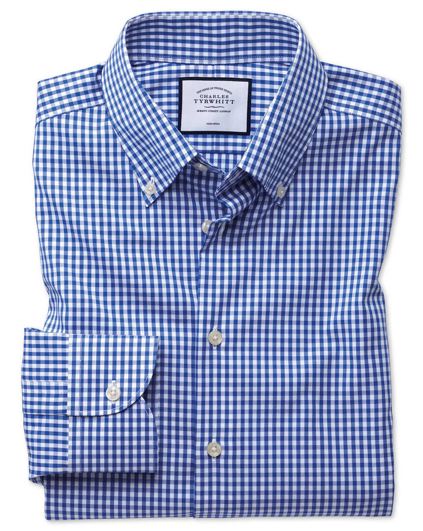 Extra slim fit business casual non-iron royal blue check shirt
