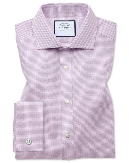 Chemise rose slim fit à col cutaway texturée à motif pied-de-poule