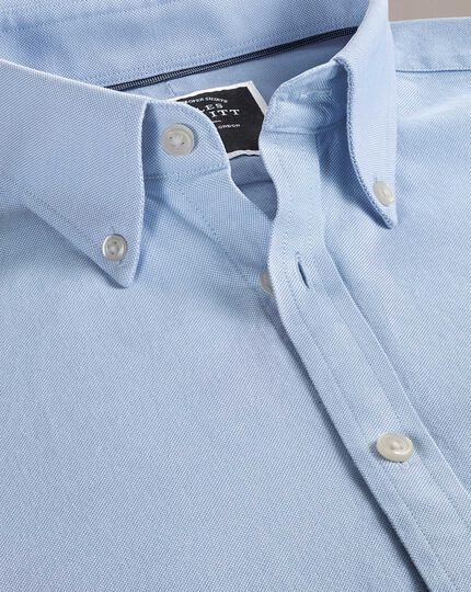 Slim fit button-down washed Oxford plain sky blue shirt