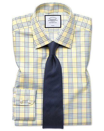 Bügelfreies Classic Fit Hemd mit Prince-of-Wales-Karos in Gelb