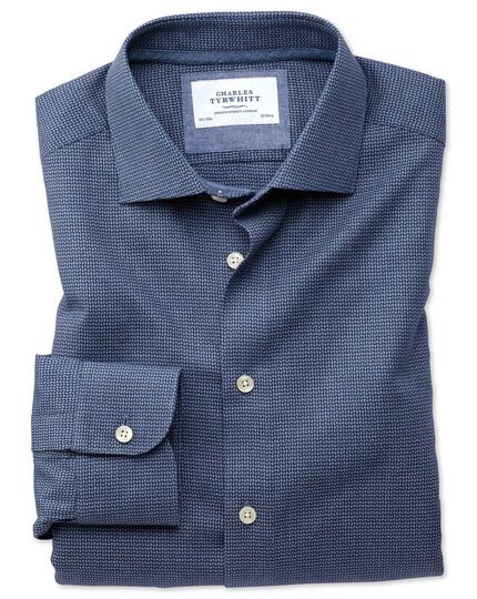 Extra slim fit semi-spread collar business casual navy patterned shirt