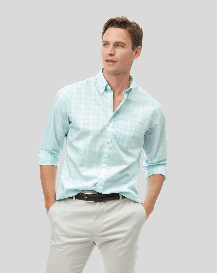 Button-Down Collar Soft Washed Stretch Poplin Check Shirt - Mint Green