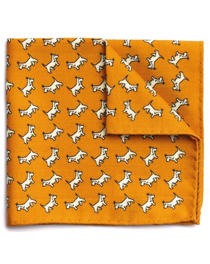 Yellow wool dog print pocket square