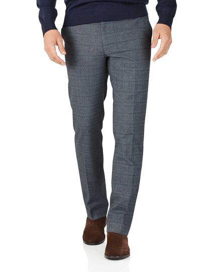 Blue slim fit cotton flannel check pants