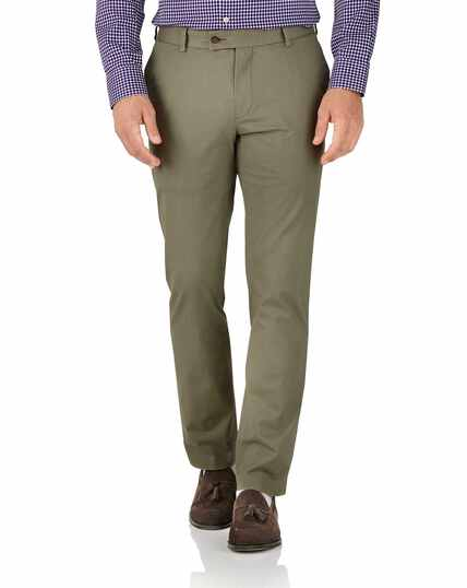 Khaki slim fit stretch chinos