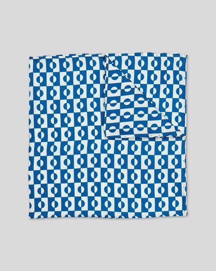 Abstract Geometric Print Pocket Square - Royal Blue & White