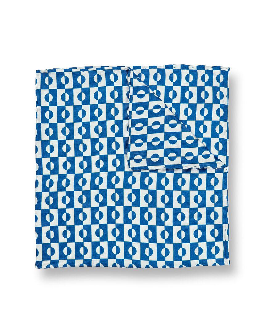 Einstecktuch mit abstraktem geometrischen Print - Königsblau & Weiß