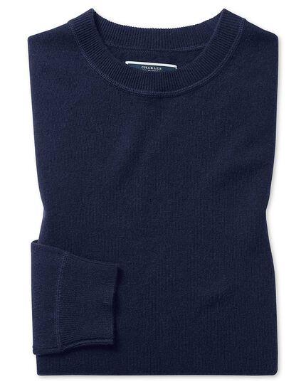 Navy merino cashmere crew neck jumper