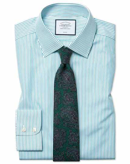 Slim fit non-iron stripe green shirt