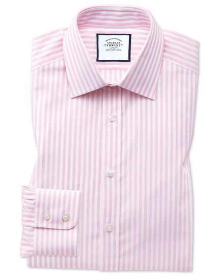 Slim fit pink and white dobby textured stripe shirt