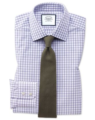 Chemise violette à grands carreaux slim fit