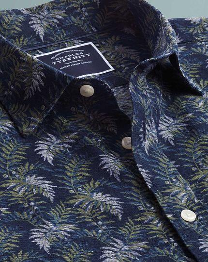 Chemise bleu marine et verte en lin et coton slim fit à imprimé feuilles et manches courtes