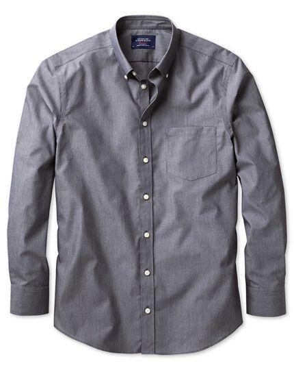 Bügelfreies Slim Fit Hemd aus Popeline in Indigoblau mit Streifen
