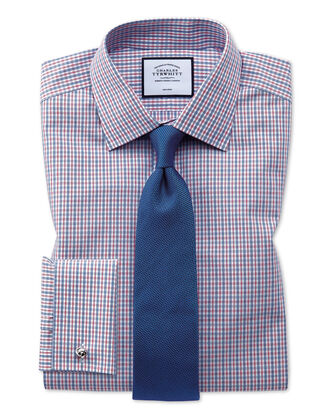Extra slim fit non-iron poplin blue and red shirt