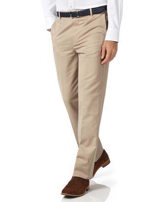 Bügelfreie Classic Fit Chino Hose ohne Bundfalte in  leicht grau