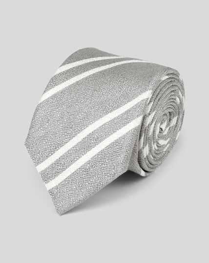 Cravate slim soie et lin à rayures - Argent
