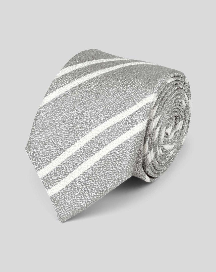 Stripe Silk Linen Slim Tie - Silver