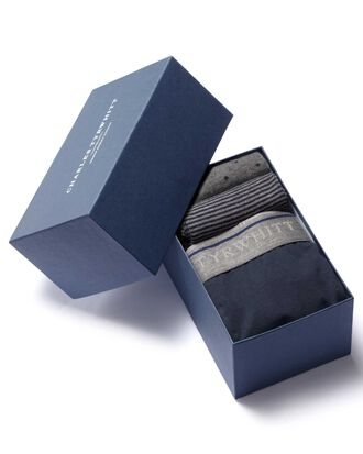 Navy jersey trunk and sock gift box