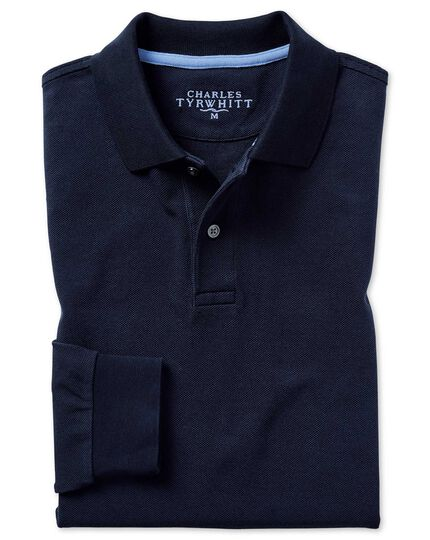 Navy long sleeve plain pique polo