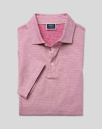 Herringbone Cotton Linen Polo - Dark Pink