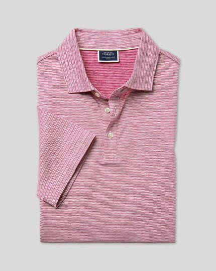 Herringbone Cotton Linen Polo - Dark Pink