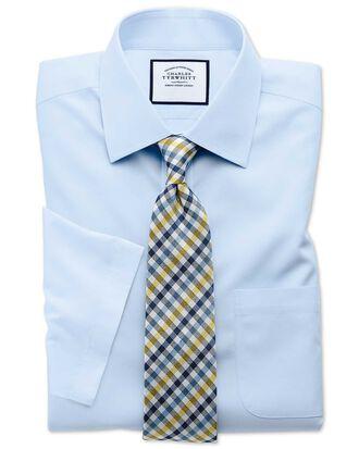 Classic fit non-iron poplin short sleeve sky blue shirt