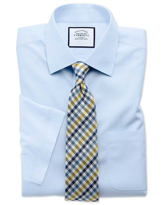 Classic fit sky blue non-iron poplin short sleeve shirt