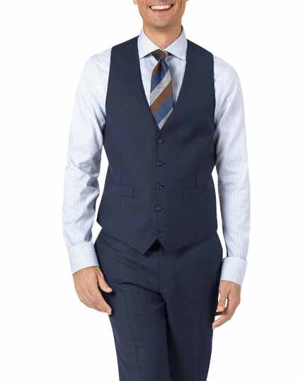 Mid blue adjustable fit twill business suit waistcoat