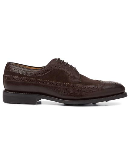 Chocolate Goodyear welted Derby wing tip brogue shoes