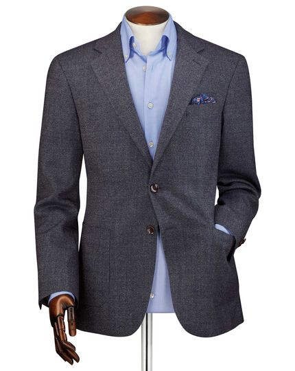Classic fit navy wool flannel jacket