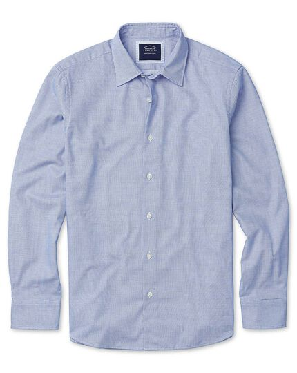 Soft Washed Textured Grid Check Shirt - Sky Blue
